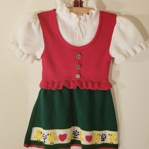 True 1960s vintage red, green, white dirndl dress